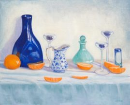 Blue and Oranges Collection of Maura Gallant 16x20 Oil on Linen