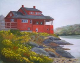 The Red House on Monhegan Island - Collection of Jeanne D'Arc Credit Union  11x14 Oil on LinenPlein air-